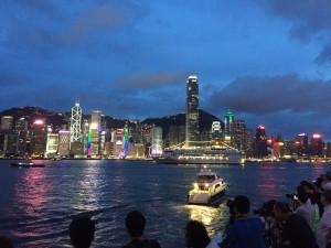 Luci sulla baia di Hong Kong